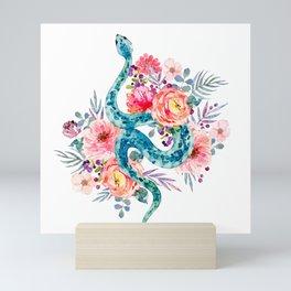 Blue Watercolor Snake In The Flower Garden Mini Art Print