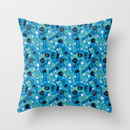Skeletons in Spring - pacific blue - black Throw Pillow