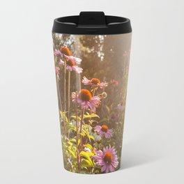 Sun setting on purple coneflower garden with bee on flower Travel Mug