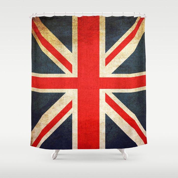 Vintage Union Jack British Flag Shower Curtain By Mesutok