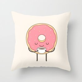 donut loves coffee Throw Pillow