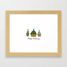 Happy birthday cacti Framed Art Print
