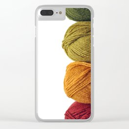 Four Skeins of Yarn in a Row Clear iPhone Case