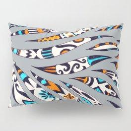 Inky Funky Pattern On Grey Pillow Sham