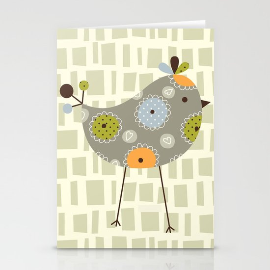 Grey Tweetie Bird Stationery Cards