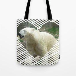 Polar Baer in heart shape Tote Bag