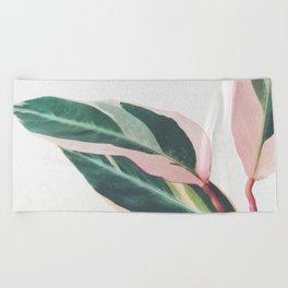 Pink Leaves II Beach Towel