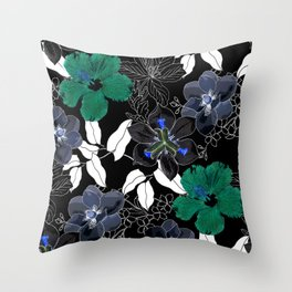 Botanical Bliss Black Throw Pillow