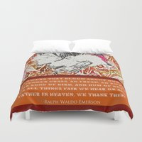 waldo Duvet Covers featuring Ralph Waldo Turkeyson by Canis Picta