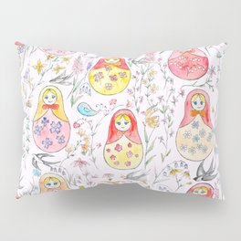 Russian dolls and flowers_ink and watercolor 3 Pillow Sham
