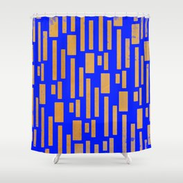 Abstract Bamboo Blue Gold Mid-Century Shower Curtain
