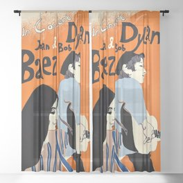 Vintage 1965 Bob Dylan in Concert Poster Sheer Curtain