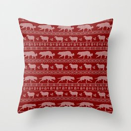 Ugly christmas sweater   Border collie red Throw Pillow