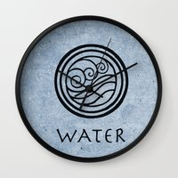 avatar the last airbender Wall Clocks featuring Avatar Last Airbender - Water by bdubzgear