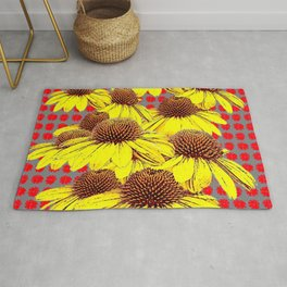 DECORATIVE YELLOW CONE FLOWERS ON RED PATTERN ART Rug