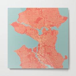 Seattle, Washington City Map, Colorful Metal Print
