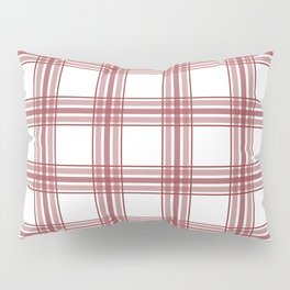 Farmhouse Plaid in Brick Red and White Pillow Sham