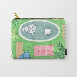 Green Tiled Bath drawing by Amanda Laurel Atkins Carry-All Pouch
