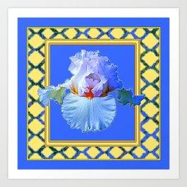 BLUISH-WHITE PASTEL IRIS FLOWER BOTANICAL ART Art Print