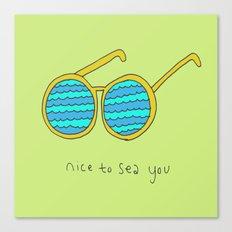 Nice to Sea You Retro Shades Green Canvas Print