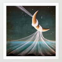 When The Wind Blows - moon lullaby Art Print