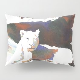 Fine art watercolor of lionesses lying on sunny rocks at North Carolina zoo. Pillow Sham