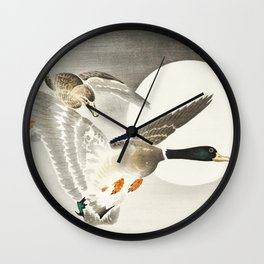 Couple of ducks and moon - Vintage Japanese Woodblock Print Art Wall Clock