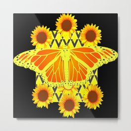 SUNFLOWERS & MONARCH BUTTERFLY BLACK GRAPHIC Metal Print
