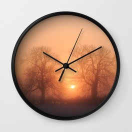 Misty Isle Sunset Wall Clock