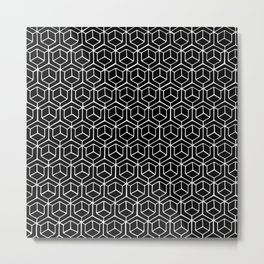 Hand Drawn Hypercube Black Metal Print
