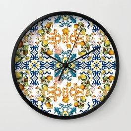 Sicilian vintage summer blue tiles pattern with lemon and kiwi Wall Clock