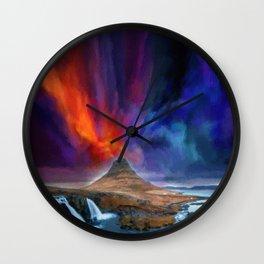 Kirkjufellsfoss, Iceland Abstract Landscape watercolor v4 by Ahmet Asar Wall Clock