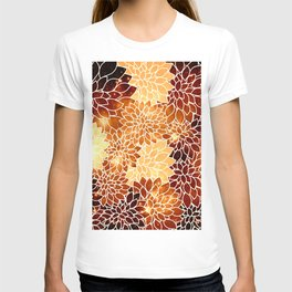 Space Dahlias Golden Bronze T-shirt