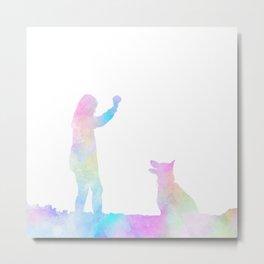 Girl with Dog Rainbow Watercolor Metal Print