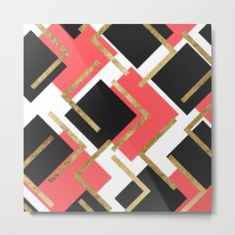Chic Coral Pink Black and Gold Square Geometric Metal Print