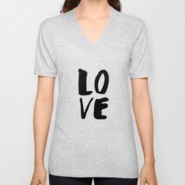 Monochrome LOVE black-white hand lettered ink typography poster design home decor wall art Unisex V-Neck