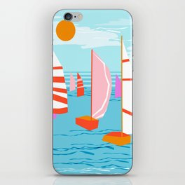 Quepasa - memphis throwback retro minimal modern neon boating yacht club sailing summer sport iPhone Skin