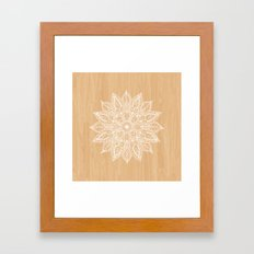Leaf mandala - wood Framed Art Print