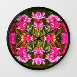 On Matlacha - Tropical Plumeria Leaves Flowers Pink Green Pattern Wall Clock