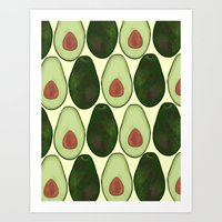 avocado Art Prints featuring Avocado by SarahBoltonIllustration
