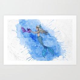 A mermaid and her friend Art Print