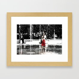 Girl in Fountain, Boston Framed Art Print