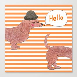Hello Sausage Dog Canvas Print