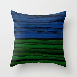 Emerald Green, Slate Blue, and Black Onyx Spilt Throw Pillow