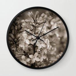 Lilacs in Sepia Wall Clock
