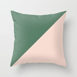 Soft Pink & Army Green - oblique Throw Pillow