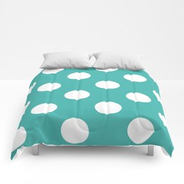Large Polka Dots - White on Verdigris Comforters