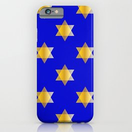 Hanukkah Star Of David Gold And Blue Pattern iPhone Case