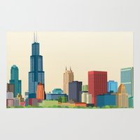 chicago Area & Throw Rugs featuring Chicago by GoFe