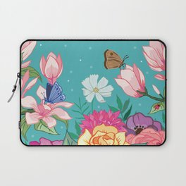 Magnolia Blossom and Bright Garden Flowers on Teal Laptop Sleeve